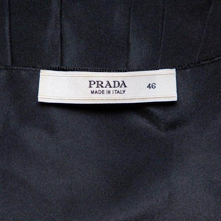 Women's Prada Black Synthetic Sleeveless Faux Wrap Midi Dress L For Sale
