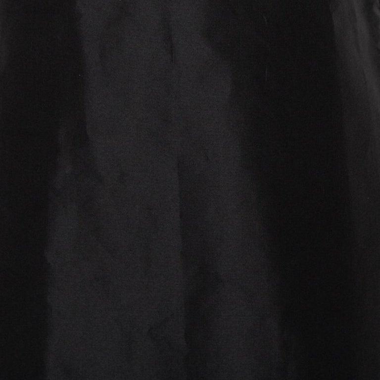 Prada Black Synthetic Sleeveless Faux Wrap Midi Dress L For Sale 1