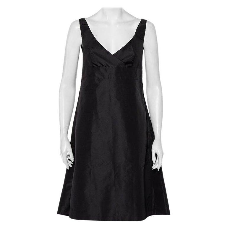 Prada Black Synthetic Sleeveless Faux Wrap Midi Dress L For Sale
