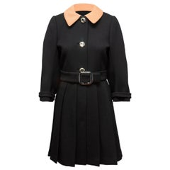 Prada Black & Tan Virgin Wool Belted Coat