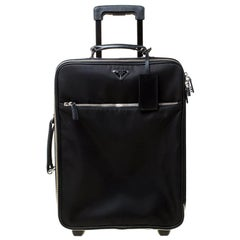 Prada Black Tessuto and Leather Trolley Rolling Luggage