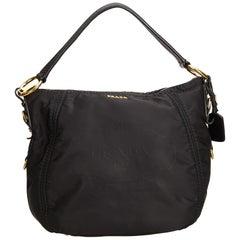 Prada Black Tessuto Canapa Nylon Hobo Bag