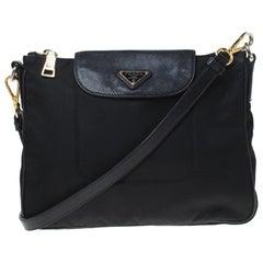 Prada Black Tessuto Nylon and Leather Crossbody Bag