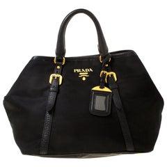 Prada Black Tessuto Nylon And Leather Satchel
