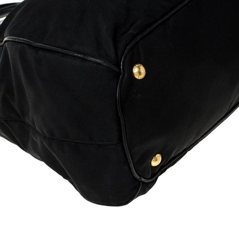Prada Black Tessuto Nylon and Leather Tote For Sale 6