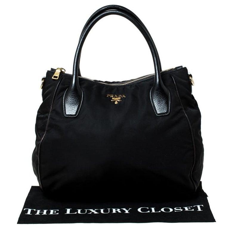 Prada Black Tessuto Nylon and Leather Tote For Sale 7