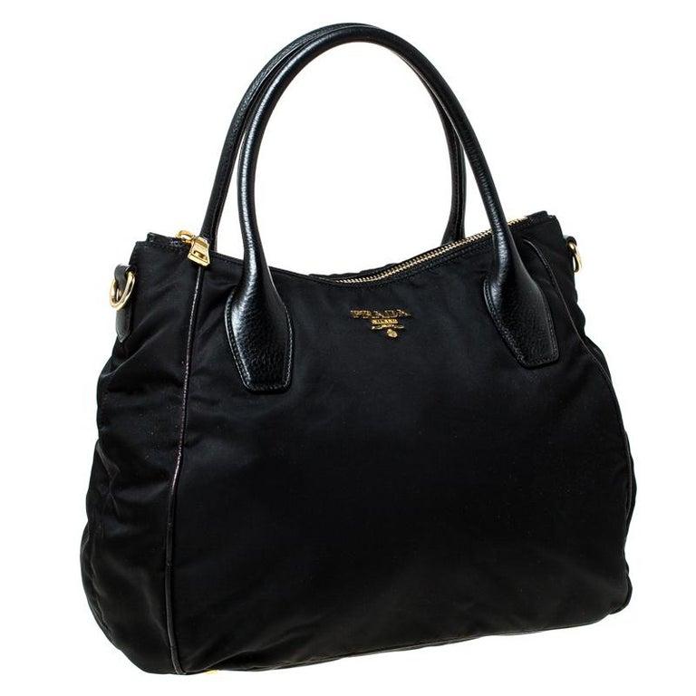 Women's Prada Black Tessuto Nylon and Leather Tote For Sale