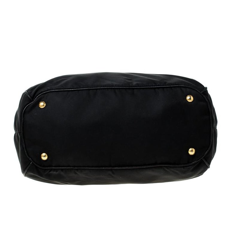 Prada Black Tessuto Nylon and Leather Tote For Sale 1