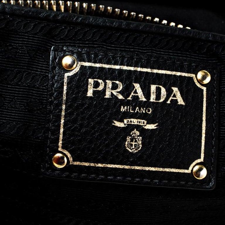 Prada Black Tessuto Nylon and Leather Tote For Sale 2