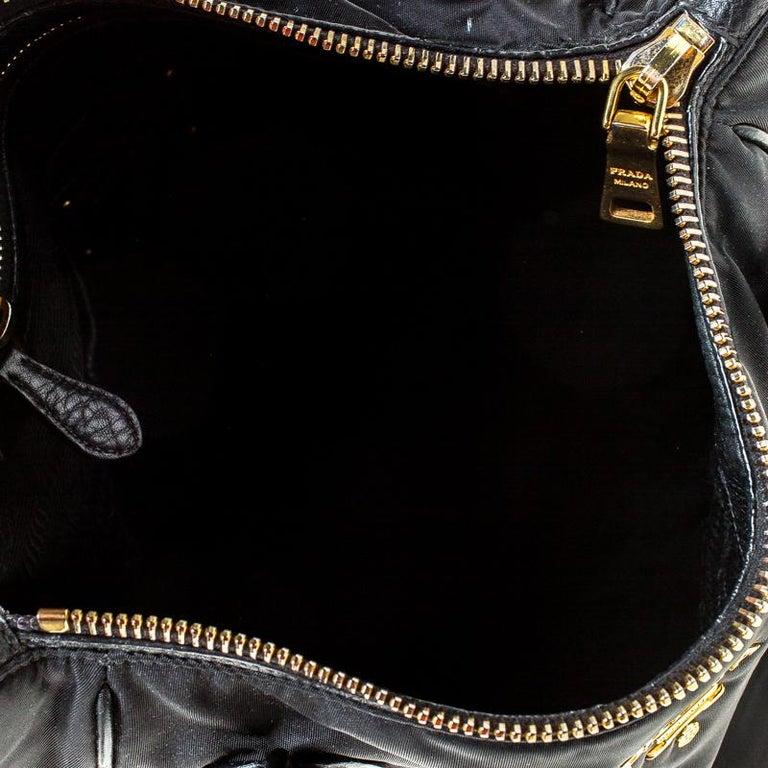 Prada Black Tessuto Nylon and Leather Tote For Sale 3