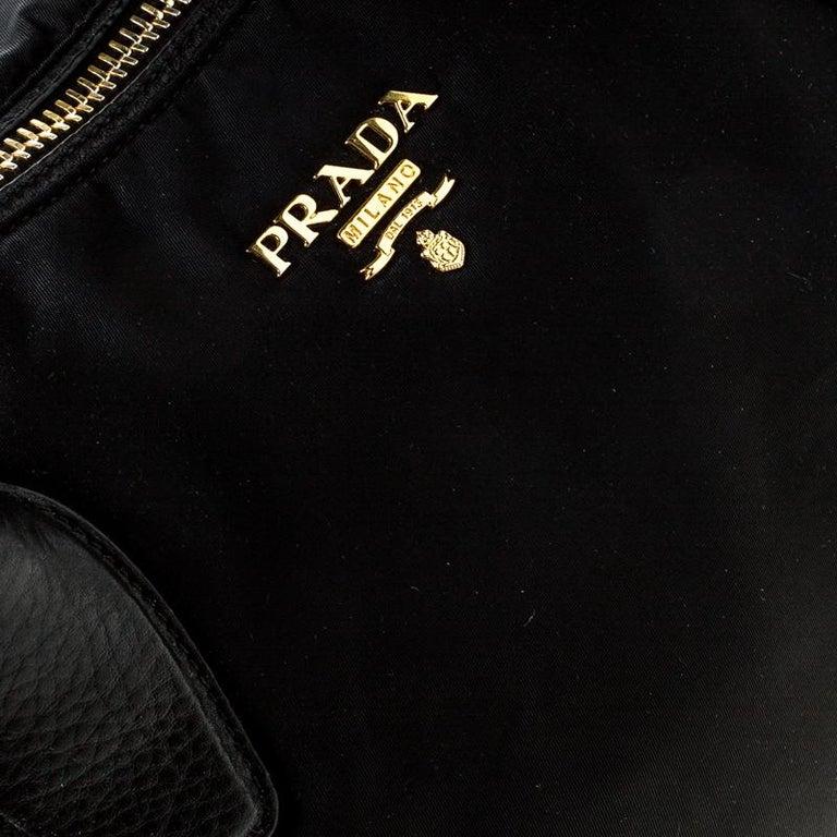 Prada Black Tessuto Nylon and Leather Tote For Sale 4