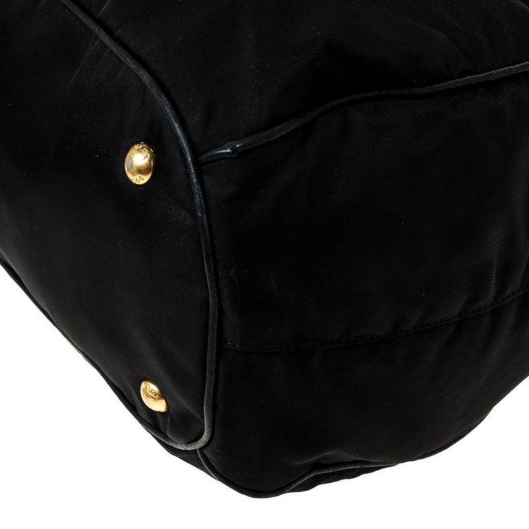 Prada Black Tessuto Nylon and Leather Tote For Sale 5