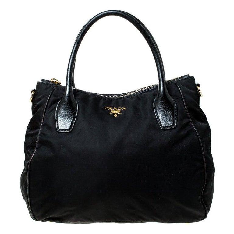 Prada Black Tessuto Nylon and Leather Tote For Sale