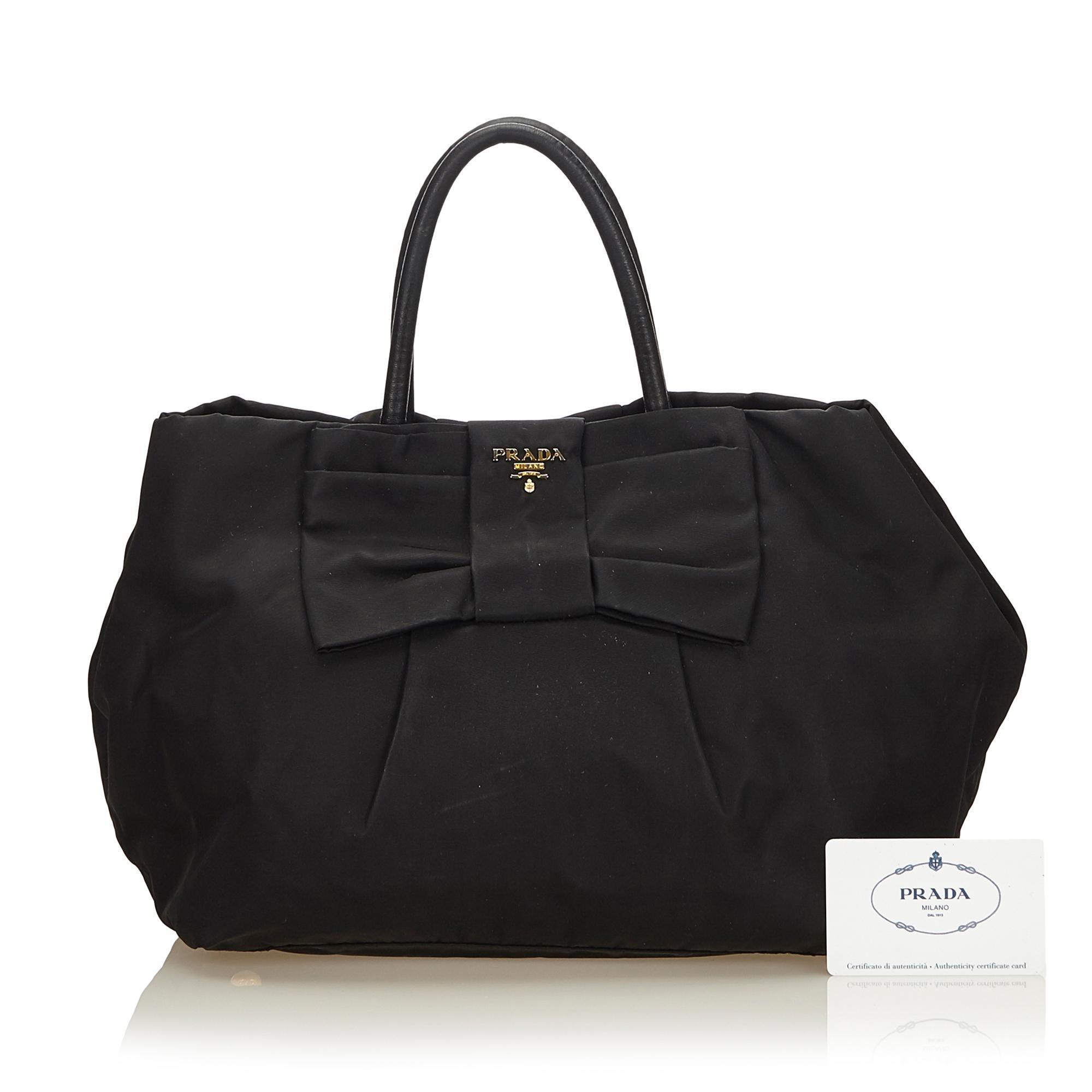 021d3ff5aa0c Prada Black Tessuto Nylon Bow Handbag at 1stdibs