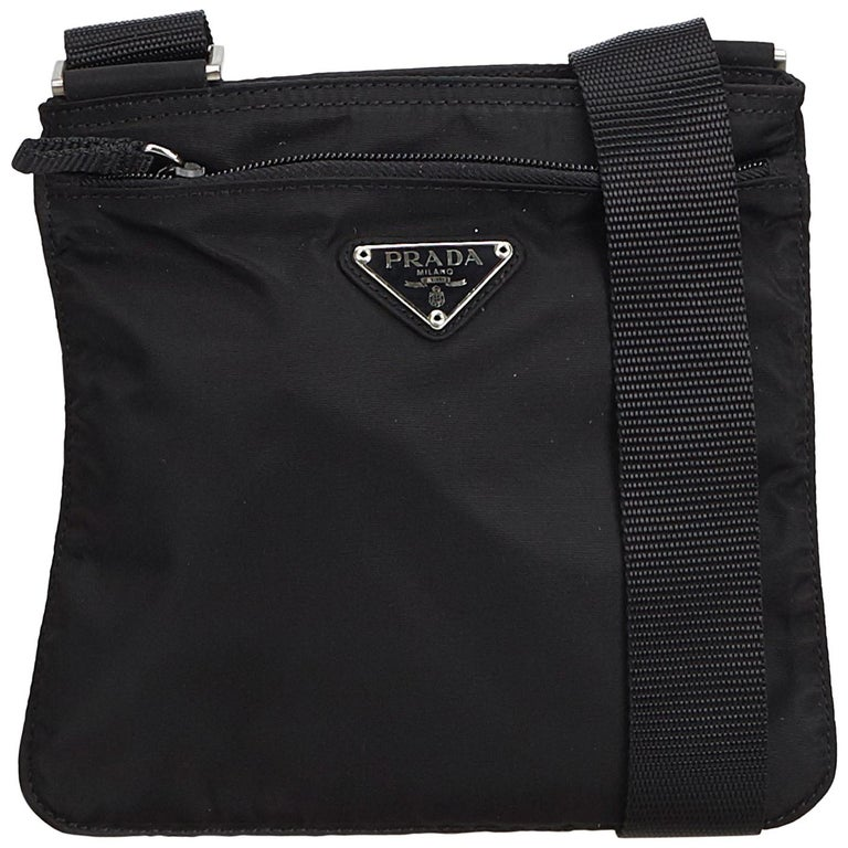2c66805f0b4c98 Prada Black Tessuto Nylon Crossbody Bag at 1stdibs