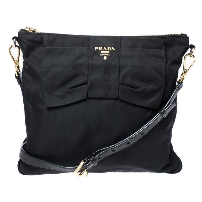 Prada Black Tessuto Nylon Crossbody Bag For Sale