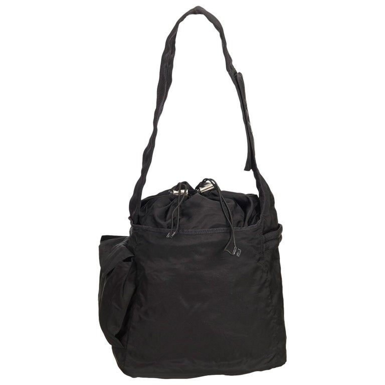72651331bfcbcc Prada Black Tessuto Nylon Drawstring Shoulder Bag at 1stdibs