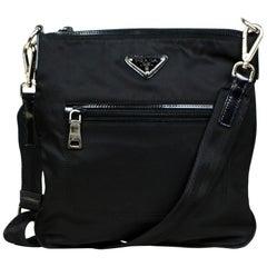 Prada Black Tessuto Nylon Flat Crossbody Bag w/ Front Pocket