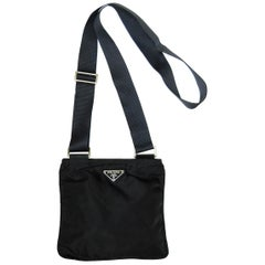 Prada Black Tessuto Nylon Flat Mini Crossbody Bag