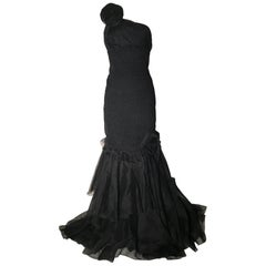 Prada Black Textured One Shoulder Gown with Rosette Detail and Ruffle Hem, 2008