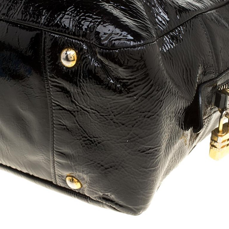 Prada Black Textured Patent Leather Satchel For Sale 6