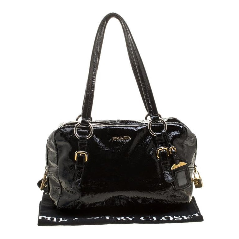 Prada Black Textured Patent Leather Satchel For Sale 7