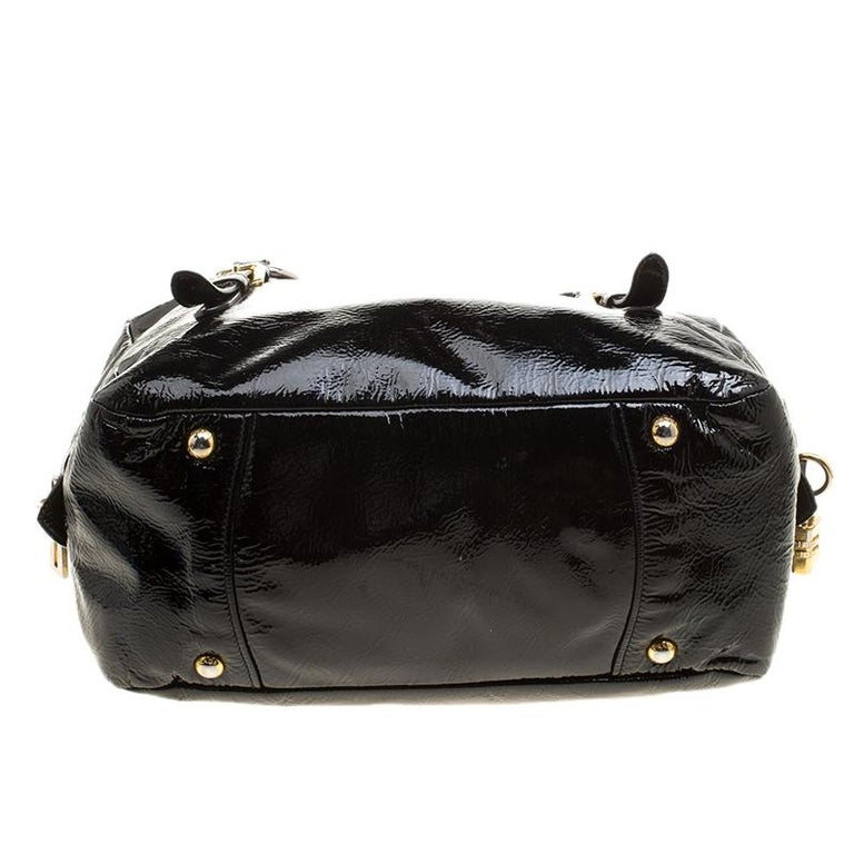 Prada Black Textured Patent Leather Satchel For Sale 1