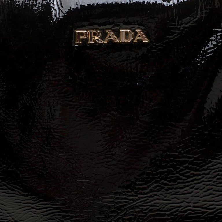 Prada Black Textured Patent Leather Satchel For Sale 2