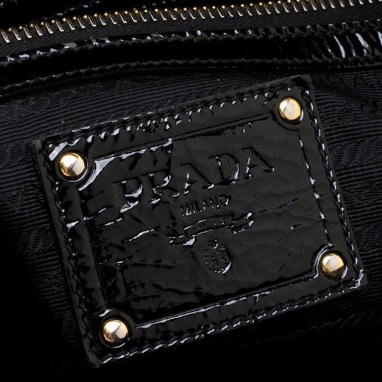 Prada Black Textured Patent Leather Satchel For Sale 4