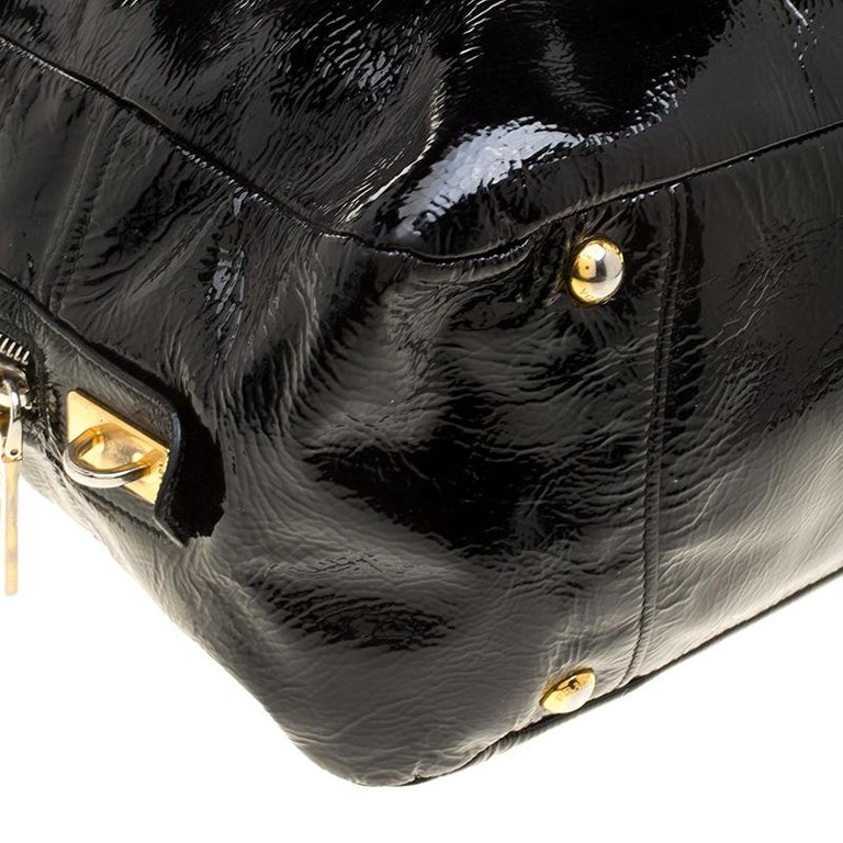 Prada Black Textured Patent Leather Satchel For Sale 5