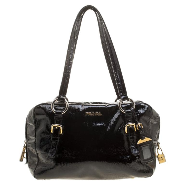 Prada Black Textured Patent Leather Satchel For Sale