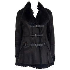 PRADA black THREE BELT SHEARLING Coat Jacket 40 S