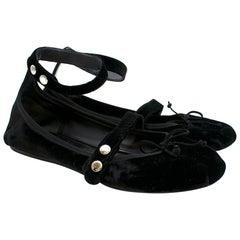 Prada Black Velvet Ballerinas w/ Ankle Strap 40