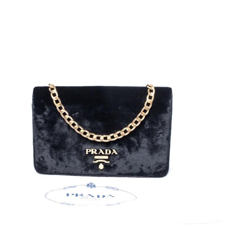 Prada Black Velvet Crossbody Bag For Sale 7