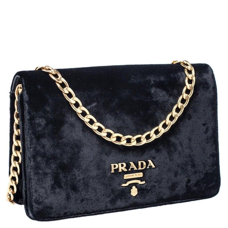 Women's Prada Black Velvet Crossbody Bag For Sale