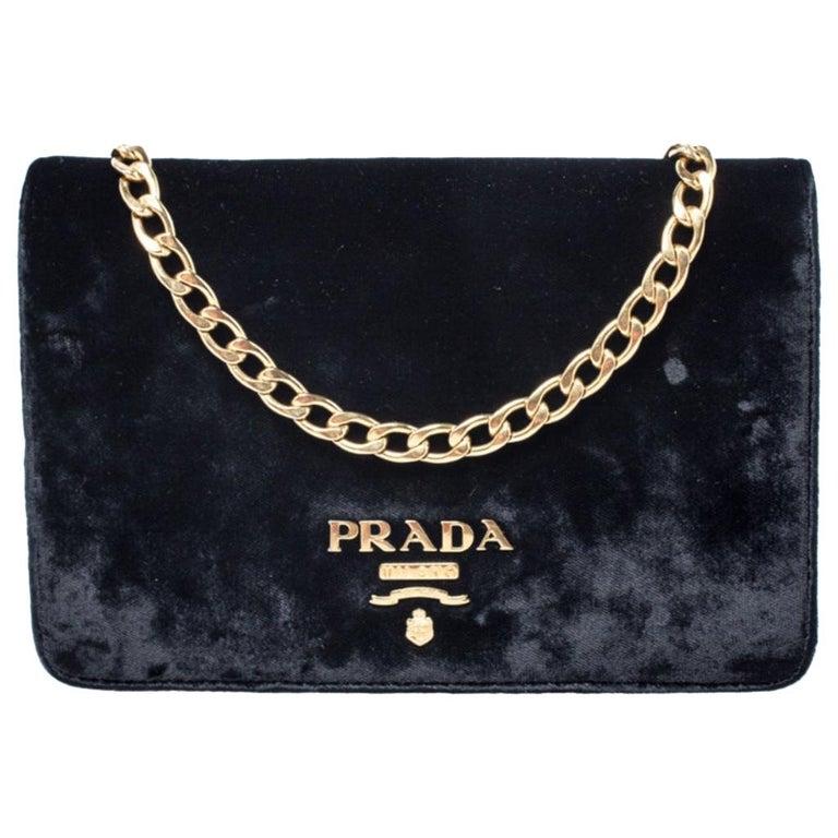 Prada Black Velvet Crossbody Bag For Sale