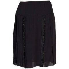 PRADA black viscose EMBELLISHED PLEATED Skirt 40 S