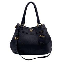 Prada Black Vitello Daino Leather Convertible Tote Bag