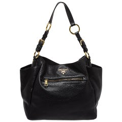 Prada Black Vitello Daino Leather Front Zip Hobo