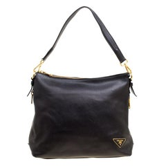 Prada Black Vitello Daino Leather Hobo