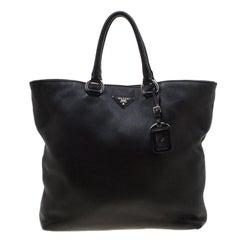 Prada Black Vitello Diano Leather Shopper Tote
