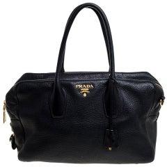 Prada Black Vitello Leather Bauletto Bag