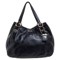 Prada Black Vitello Leather Sacca 2 Manici Hobo