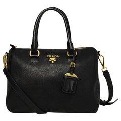 Prada Black Vitello Phenix Leather Bauletto Bag w/ Strap