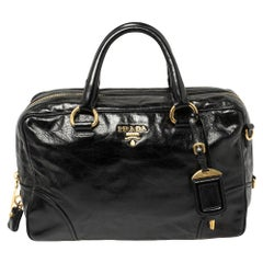 Prada Black Vitello Shine Leather East/West Bag