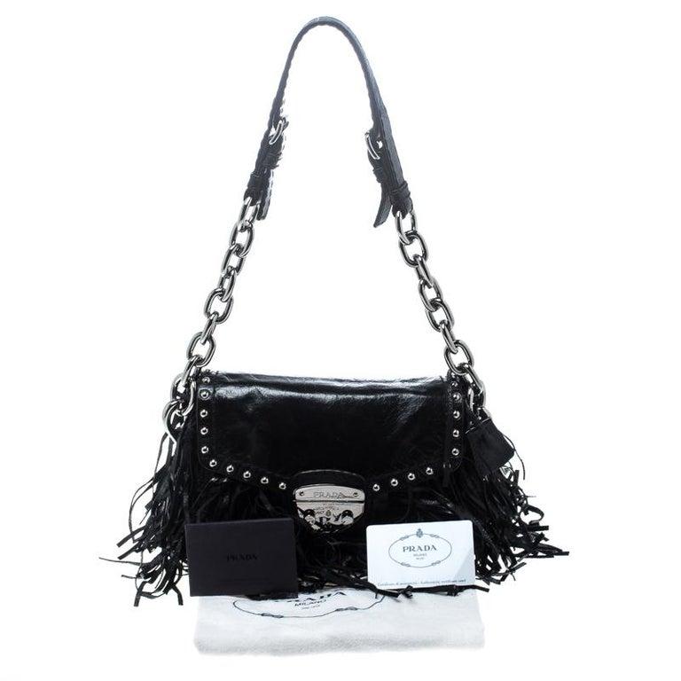 Prada Black Vitello Shine Leather Fringe Shoulder Bag For Sale 7