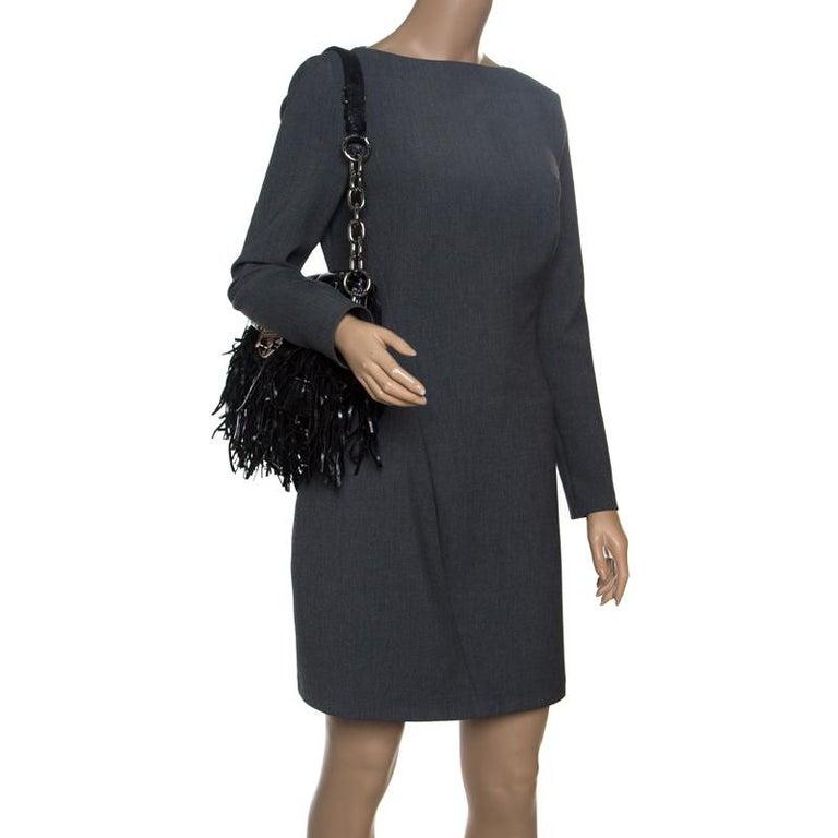 Prada Black Vitello Shine Leather Fringe Shoulder Bag In Excellent Condition For Sale In Dubai, Al Qouz 2