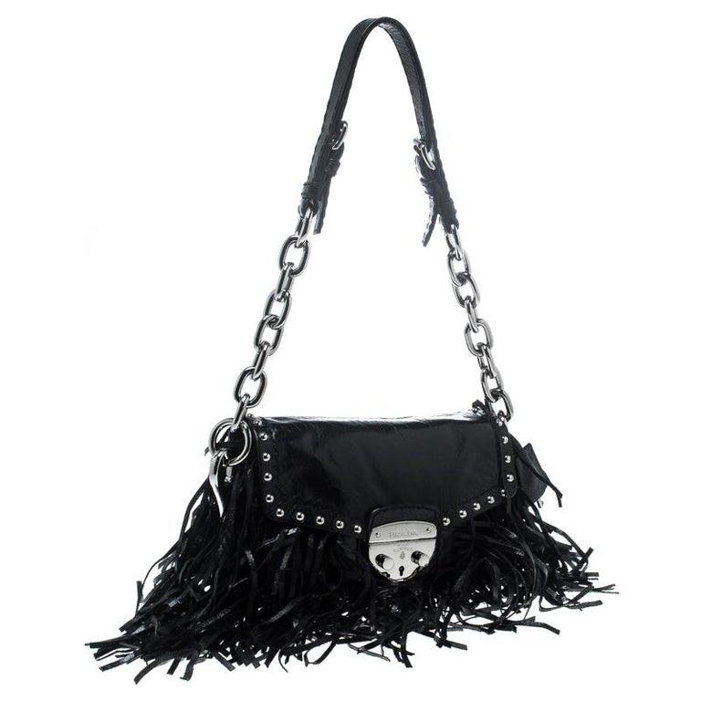 Women's Prada Black Vitello Shine Leather Fringe Shoulder Bag For Sale
