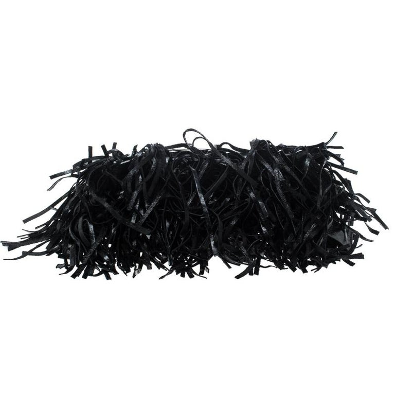Prada Black Vitello Shine Leather Fringe Shoulder Bag For Sale 2