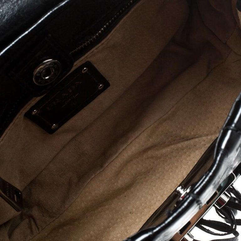 Prada Black Vitello Shine Leather Fringe Shoulder Bag For Sale 3